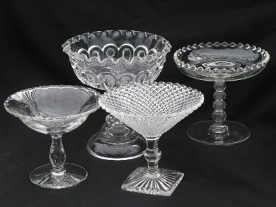 lot-vintage-pressed-pattern-glass-compotes-Century-Candlewick-English-Hobnail-Laurel-Leaf-Farm-item-no-n9387-1